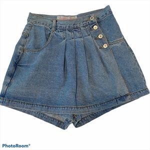 Vintage Breaker Jeans Skort Pleated High Waist